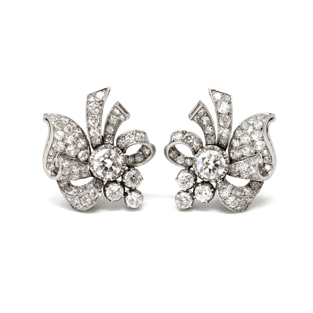 1940s Retro Platinum Diamond Ear-Clips front view