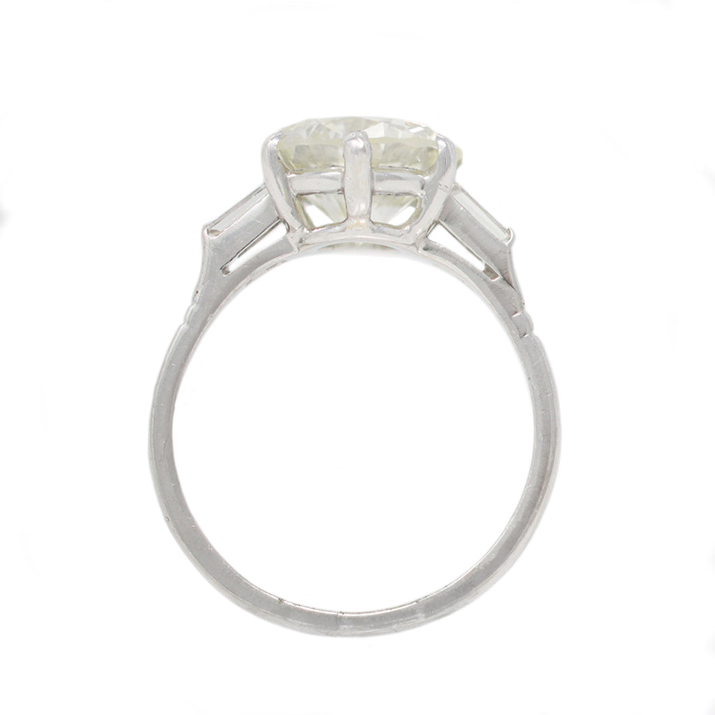 3 Carat Solitaire Platinum Diamond Ring, circa 1950 front view