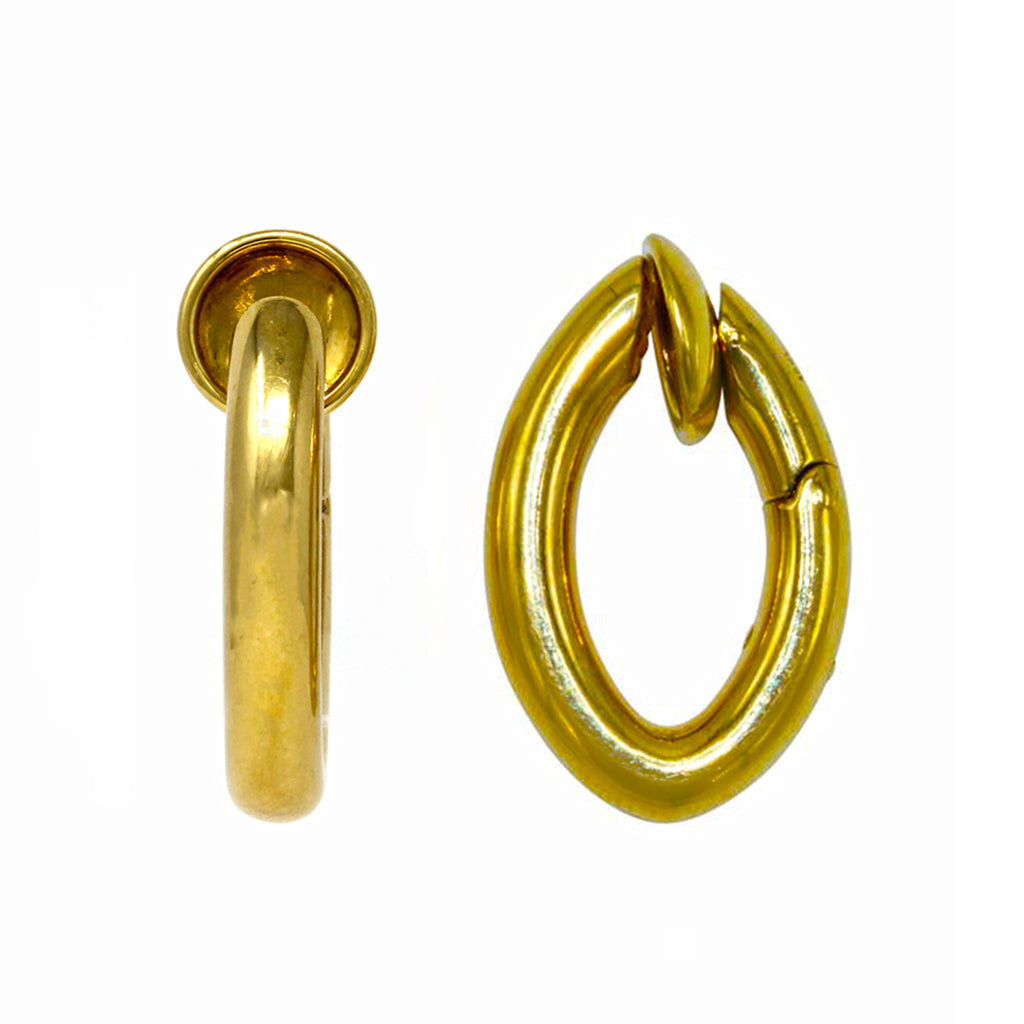 Signed Pomellato Gold Hoop Clip-on Earrings in 18 Karat Yellow Gold front and profile view