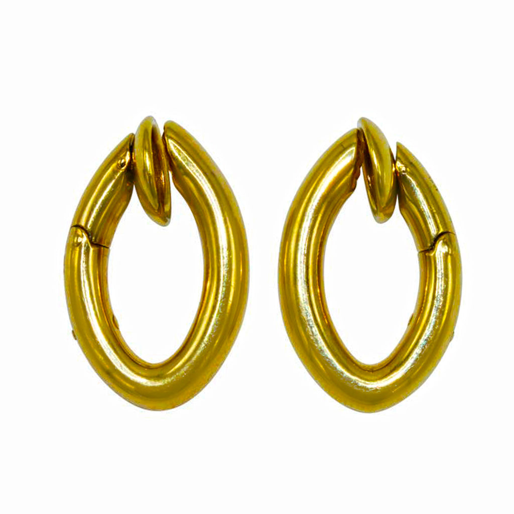 Signed Pomellato Gold Hoop Clip-on Earrings in 18 Karat Yellow Gold Profile view
