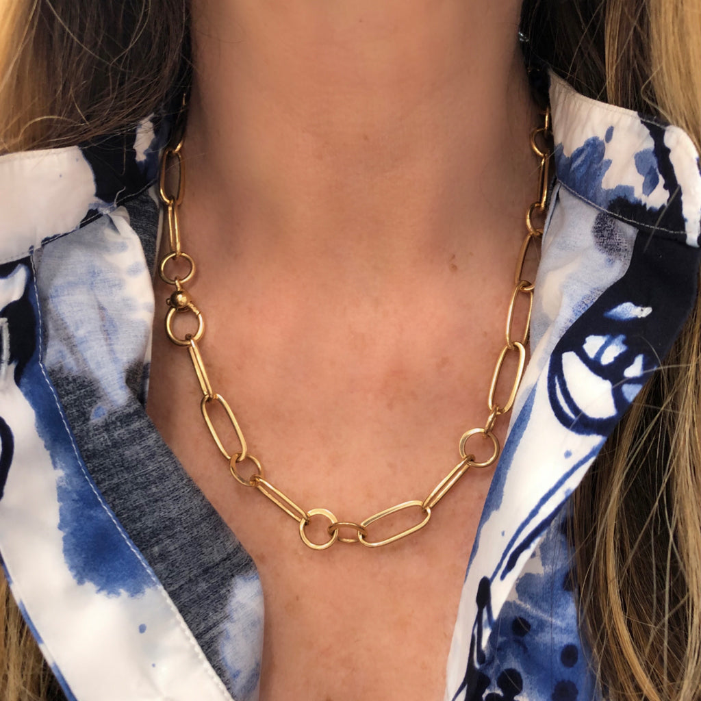 Pomellato Chain Link Necklace in 18 Karat Yellow Gold model view