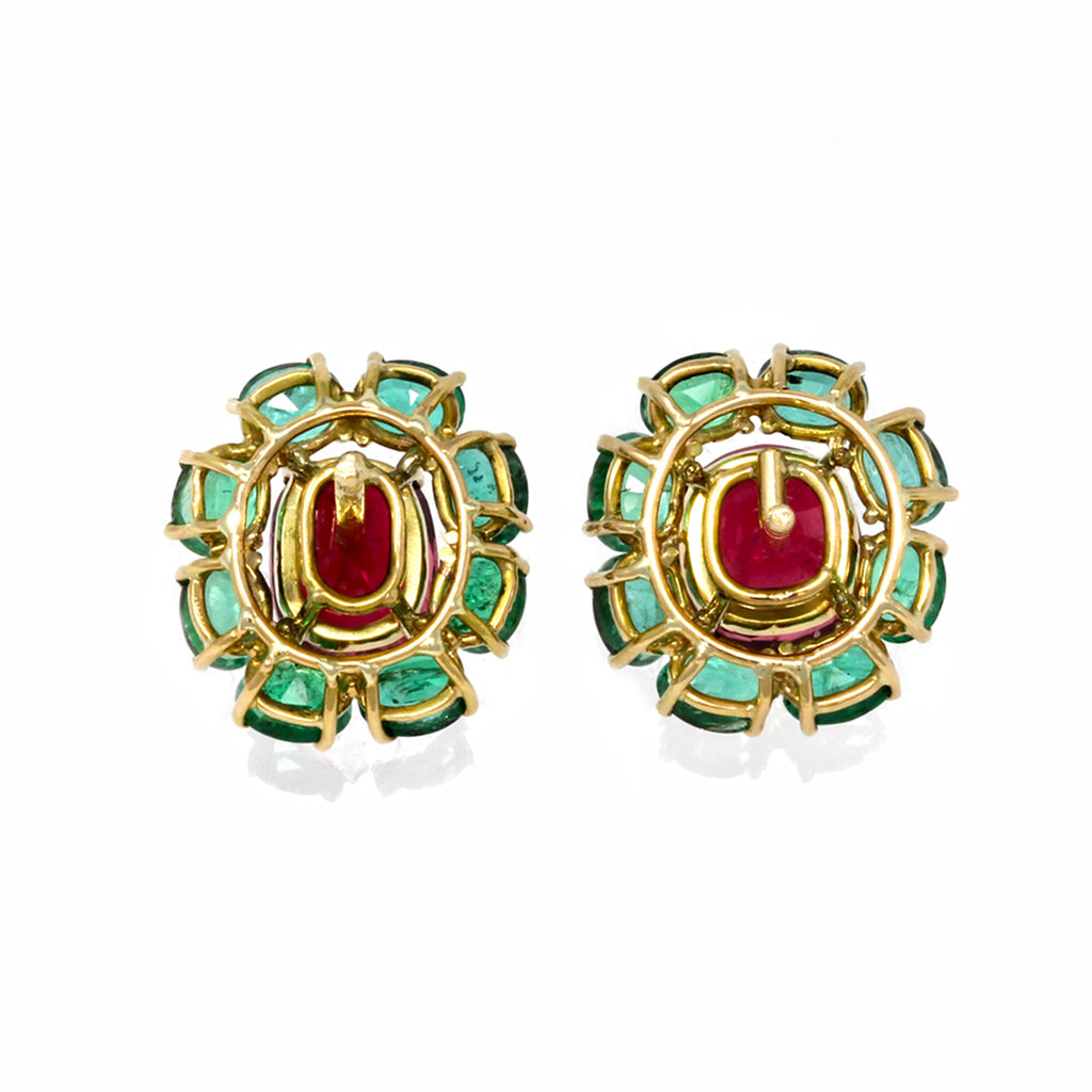 Rosaria Varra Natural No Heat Spinel (GIA) and Emerald Earrings in 18K Gold back view
