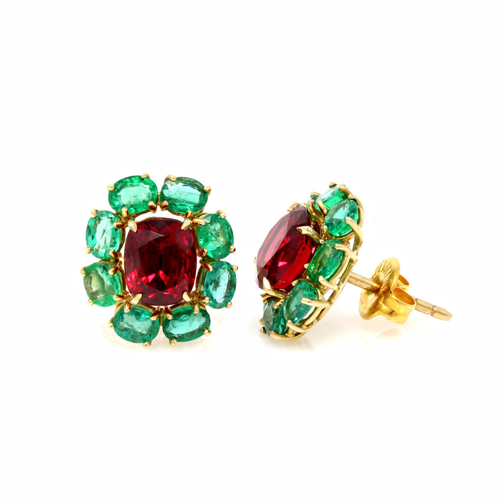 Rosaria Varra Natural No Heat Spinel (GIA) and Emerald Earrings in 18K Gold front and side view