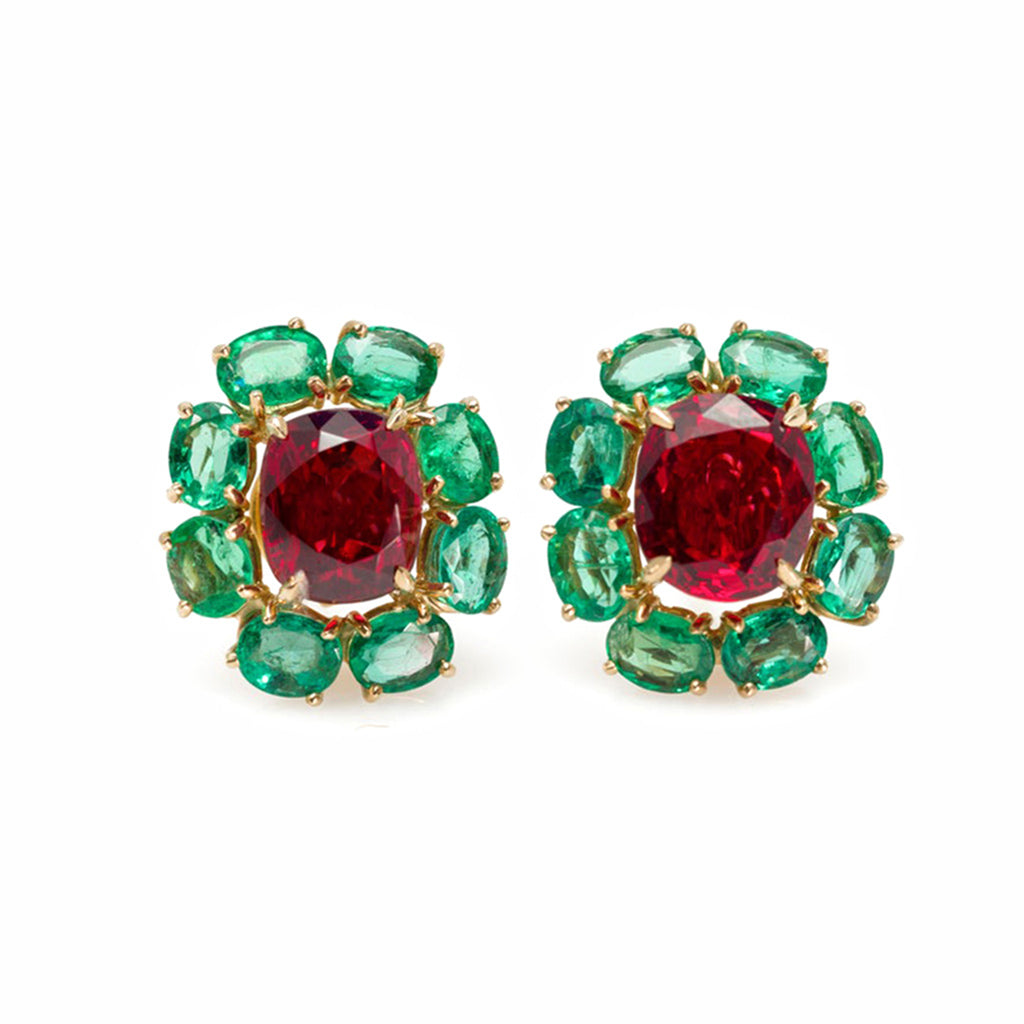 Rosaria Varra Natural No Heat Spinel (GIA) and Emerald Earrings in 18K Gold front view