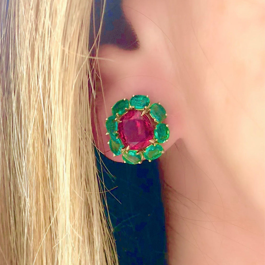 Rosaria Varra Natural No Heat Spinel (GIA) and Emerald Earrings in 18K Gold model view