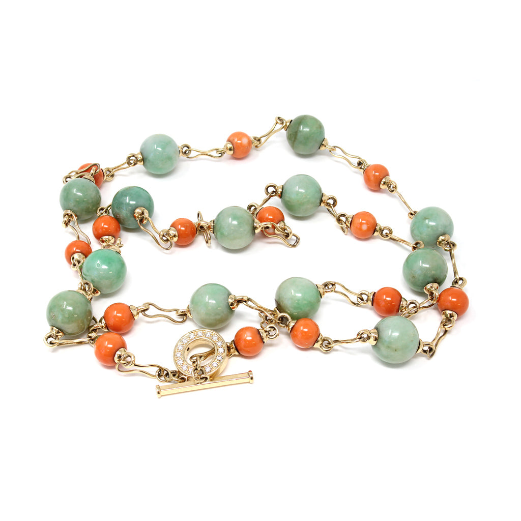 Coral and Jadeite Jade Station Necklace, 18 Karat Yellow Gold by Rosaria Varra