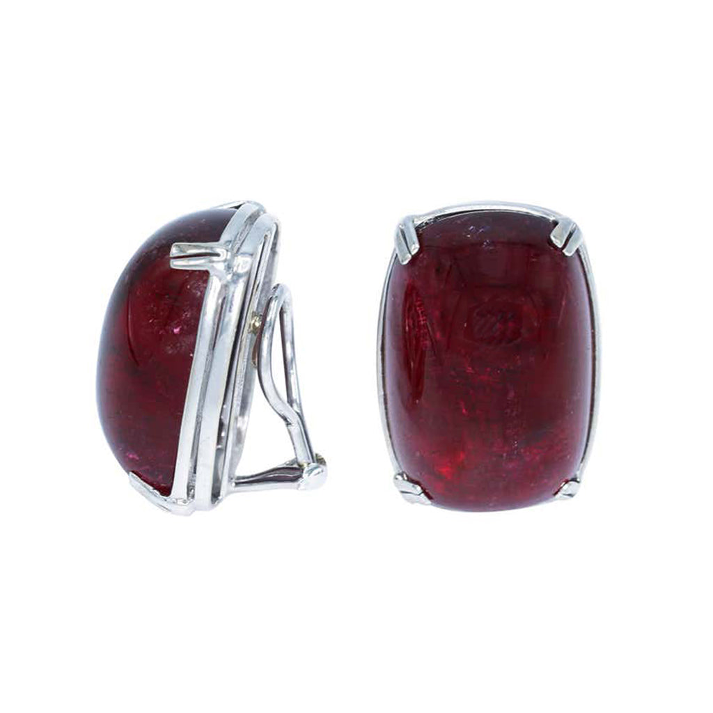 Seaman Schepps Cabochon Rubelite 18k White Gold Clip-on Earrings side view