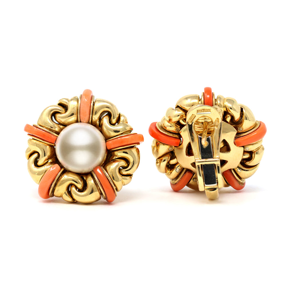 Signed Bvlgari Pearl and Coral Ear-Clips in 18 Karat Yellow Gold front and back view