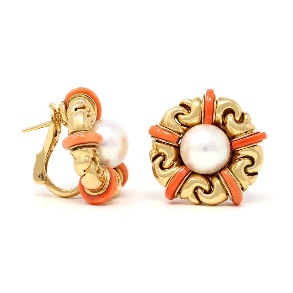Signed Bvlgari Pearl and Coral Ear-Clips in 18 Karat Yellow Gold front and side view
