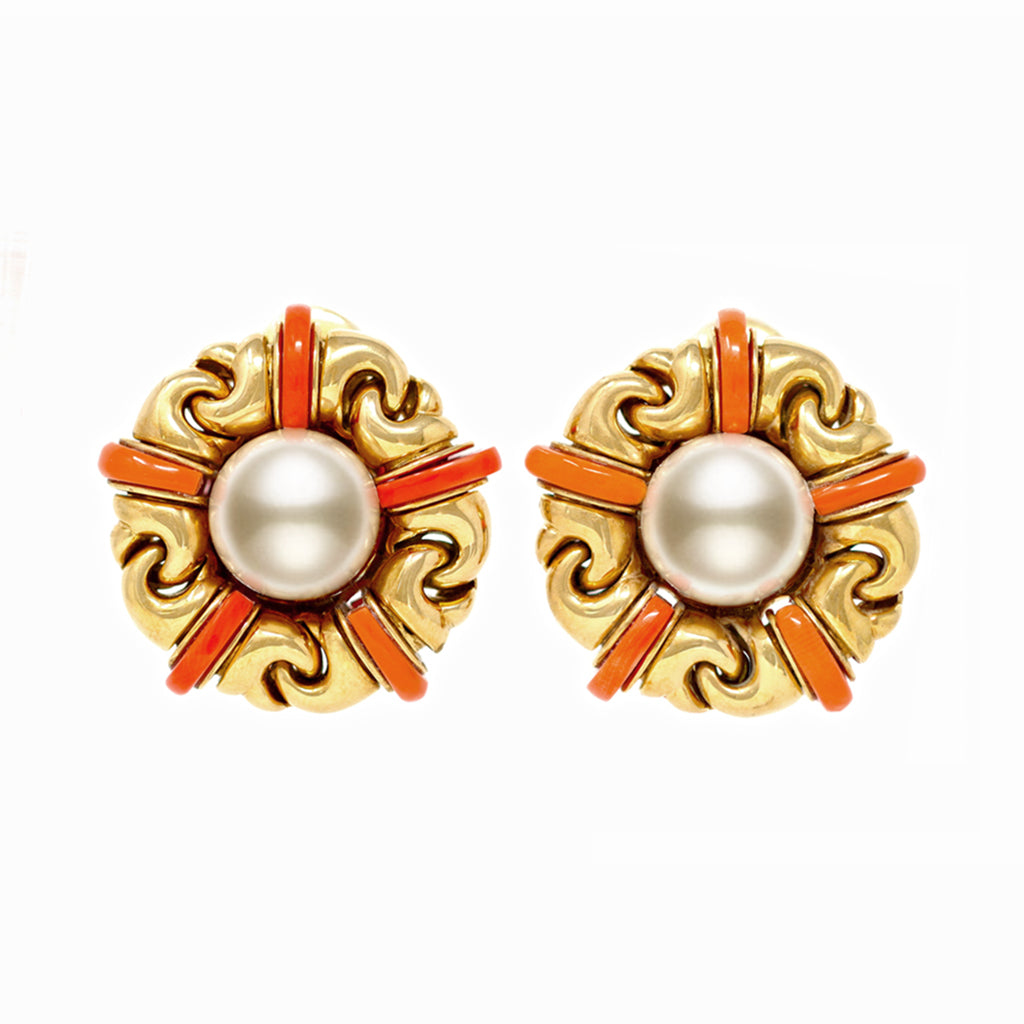 Signed Bvlgari Pearl and Coral Ear-Clips in 18 Karat Yellow Gold front view