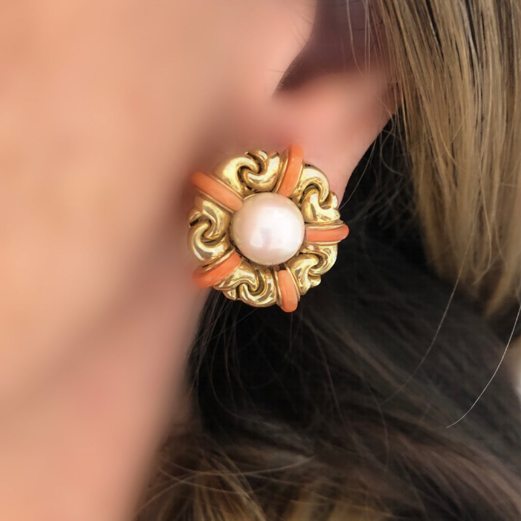 Signed Bvlgari Pearl and Coral Ear-Clips in 18 Karat Yellow Gold