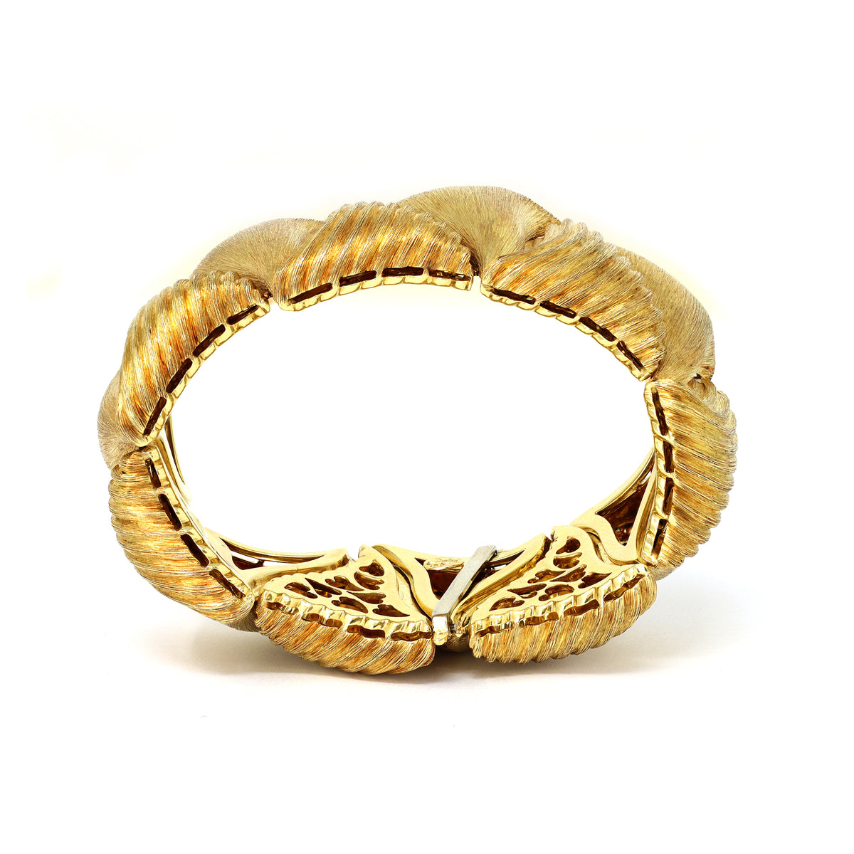 Henry Dunay Textured 18k Gold Link Bracelet side view
