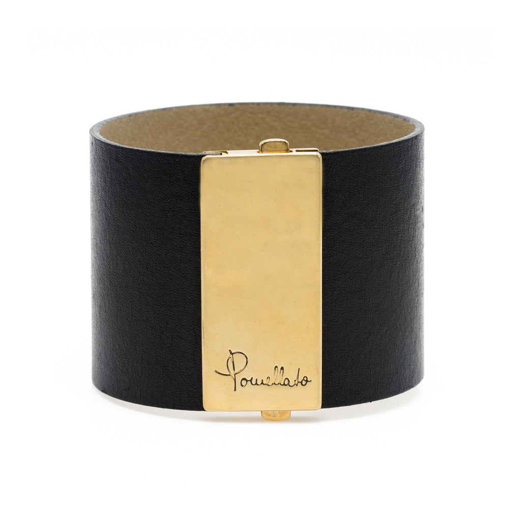 Pomellato Leather and 18k Gold Cuff Bracelet front view