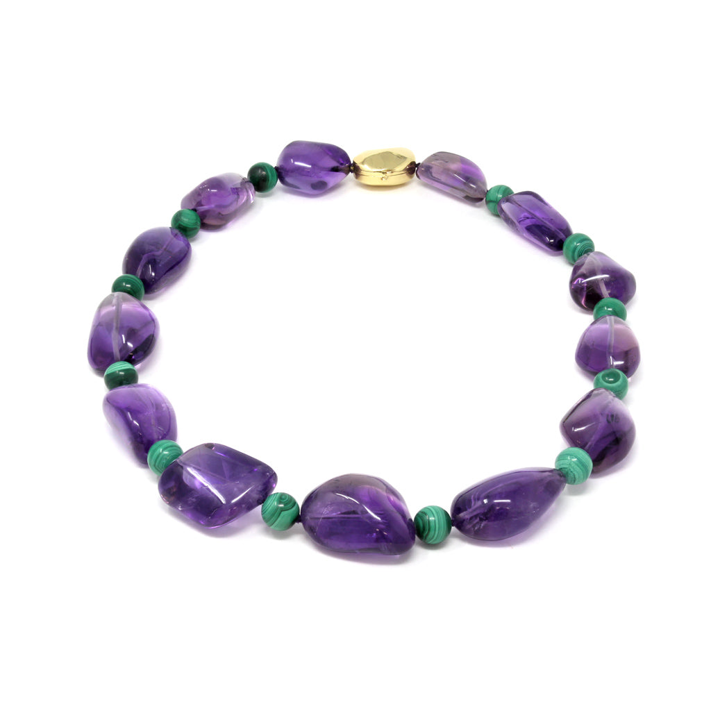 Signed Tambetti Amethyst and Malachite Beaded Necklace top view