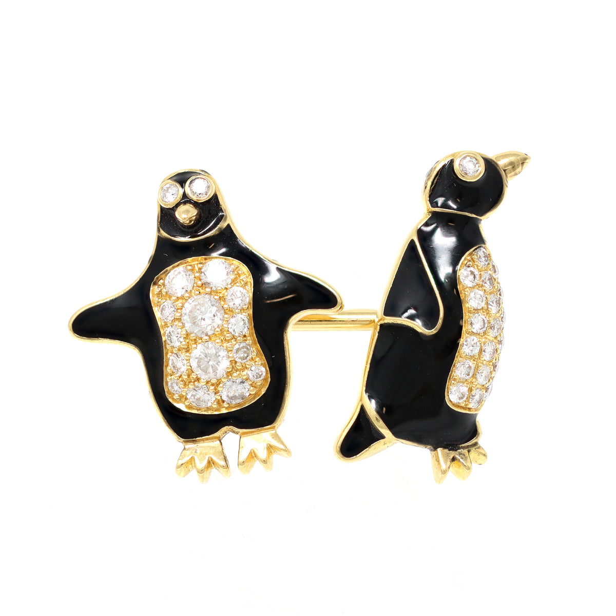Tiffany & Co. Diamond and Enamel Penguin Stud and Cufflinks Set cufflink view