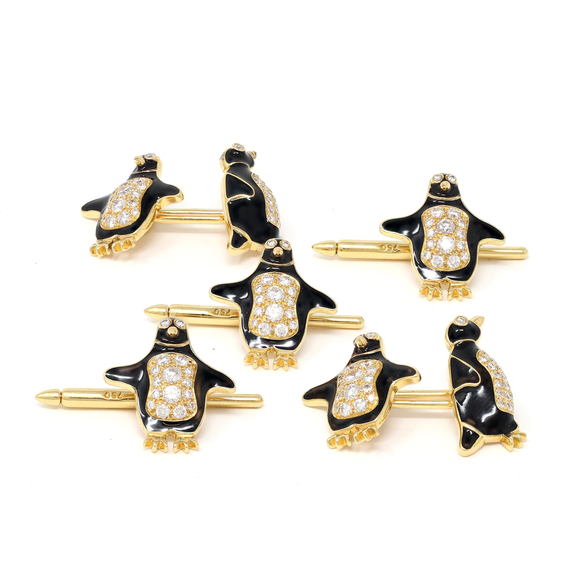 Tiffany & Co. Diamond and Enamel Penguin Stud and Cufflinks Set group view