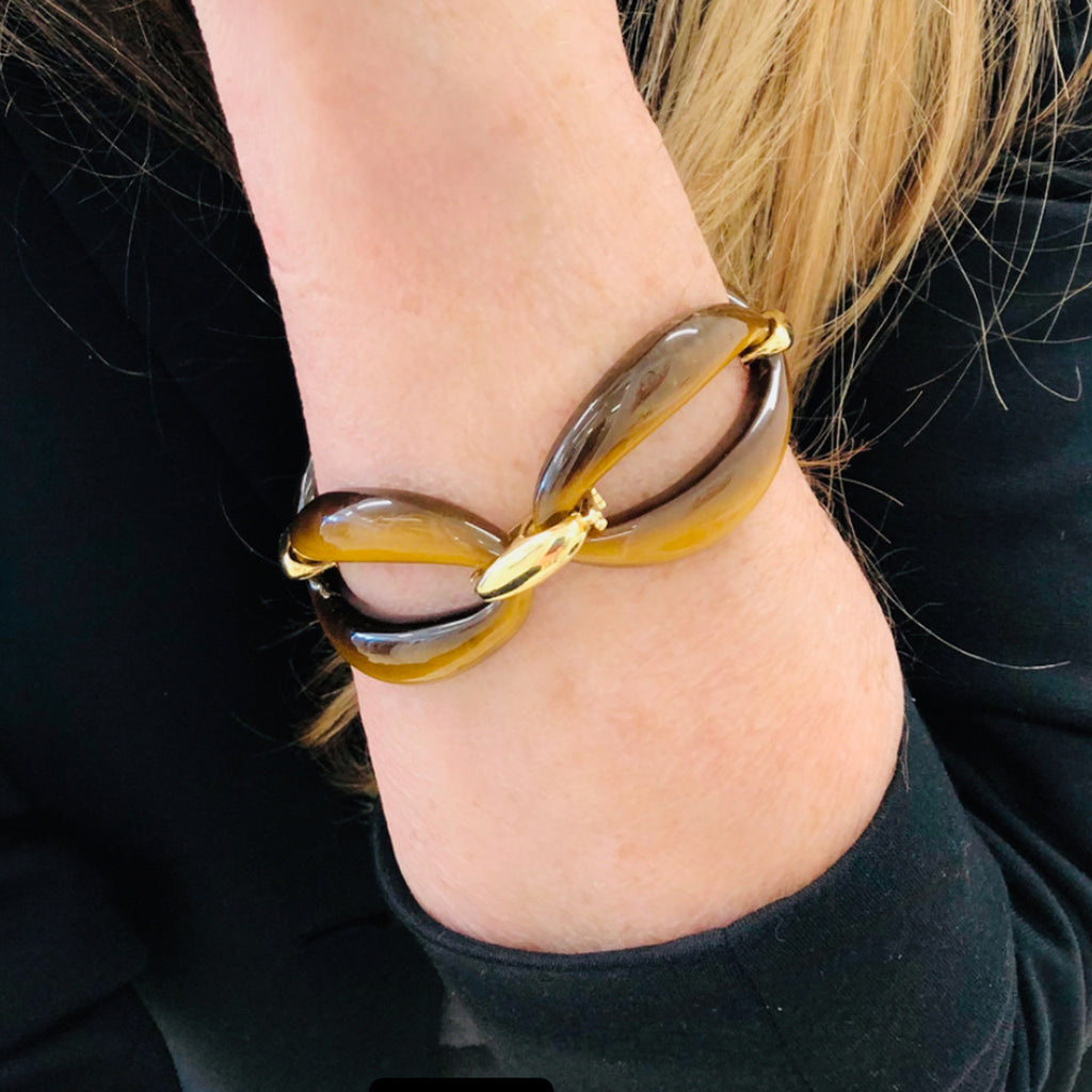 Tiger's Eye and 18 Karat Gold Link Bracelet