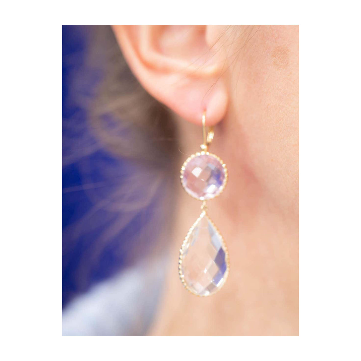 Pair of Light Amethyst and Rock Crystal Faceted Dangling Earrings in 14k Gold