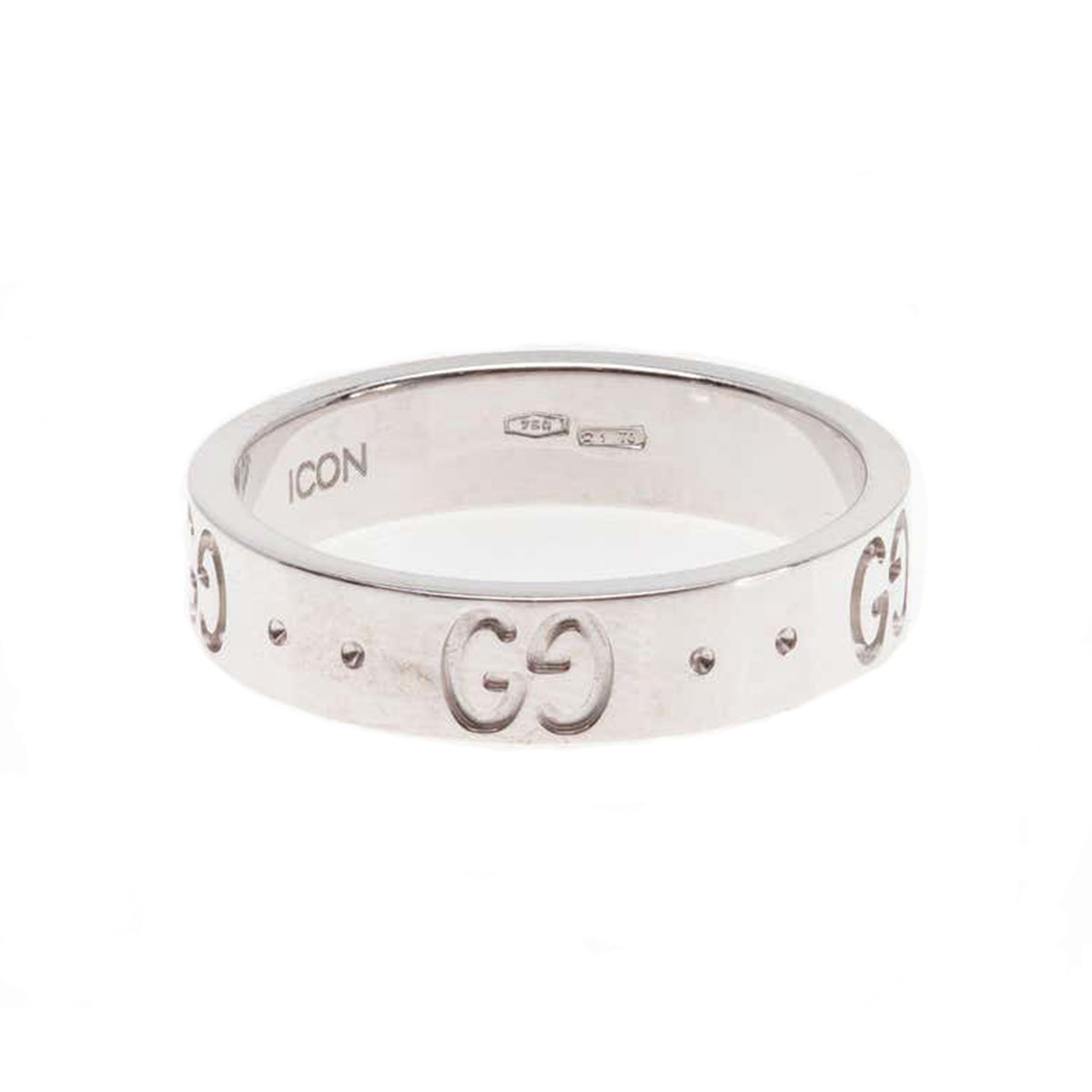 Signed Gucci Icon Collection Monogram Band Ring in 18 Karat White Gold