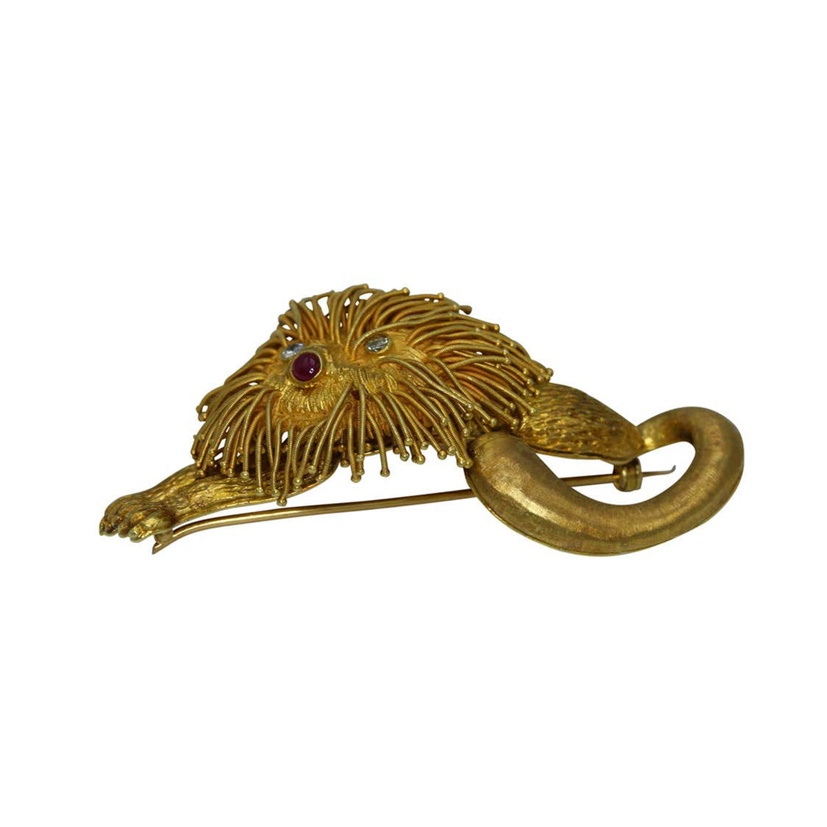 Lalaounis Ruby Diamond 18k Yellow Gold Lion Brooch