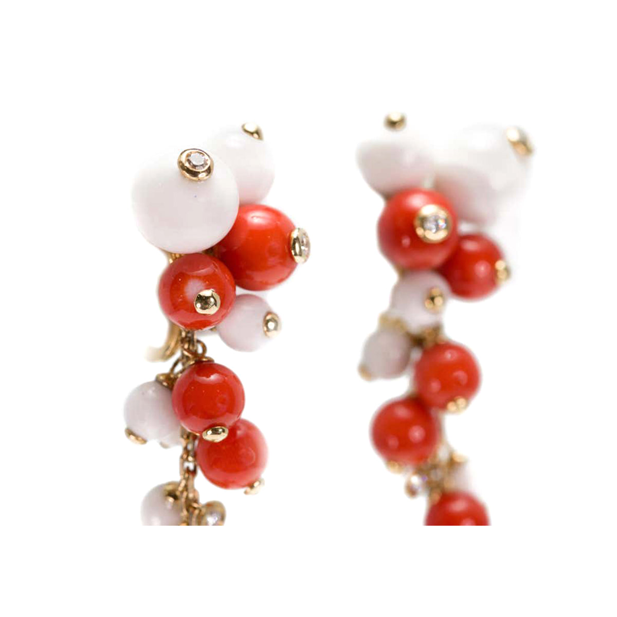 Italian Coral, White Agate Beads and Diamonds Dangling Earrings in 18 Karat Gold