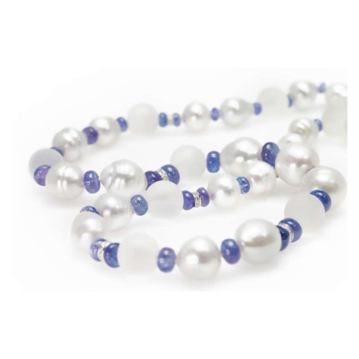 Rosaria Varra South Sea Baroque Pearl, Rock Crystal, Diamond and Tanzanite Necklace