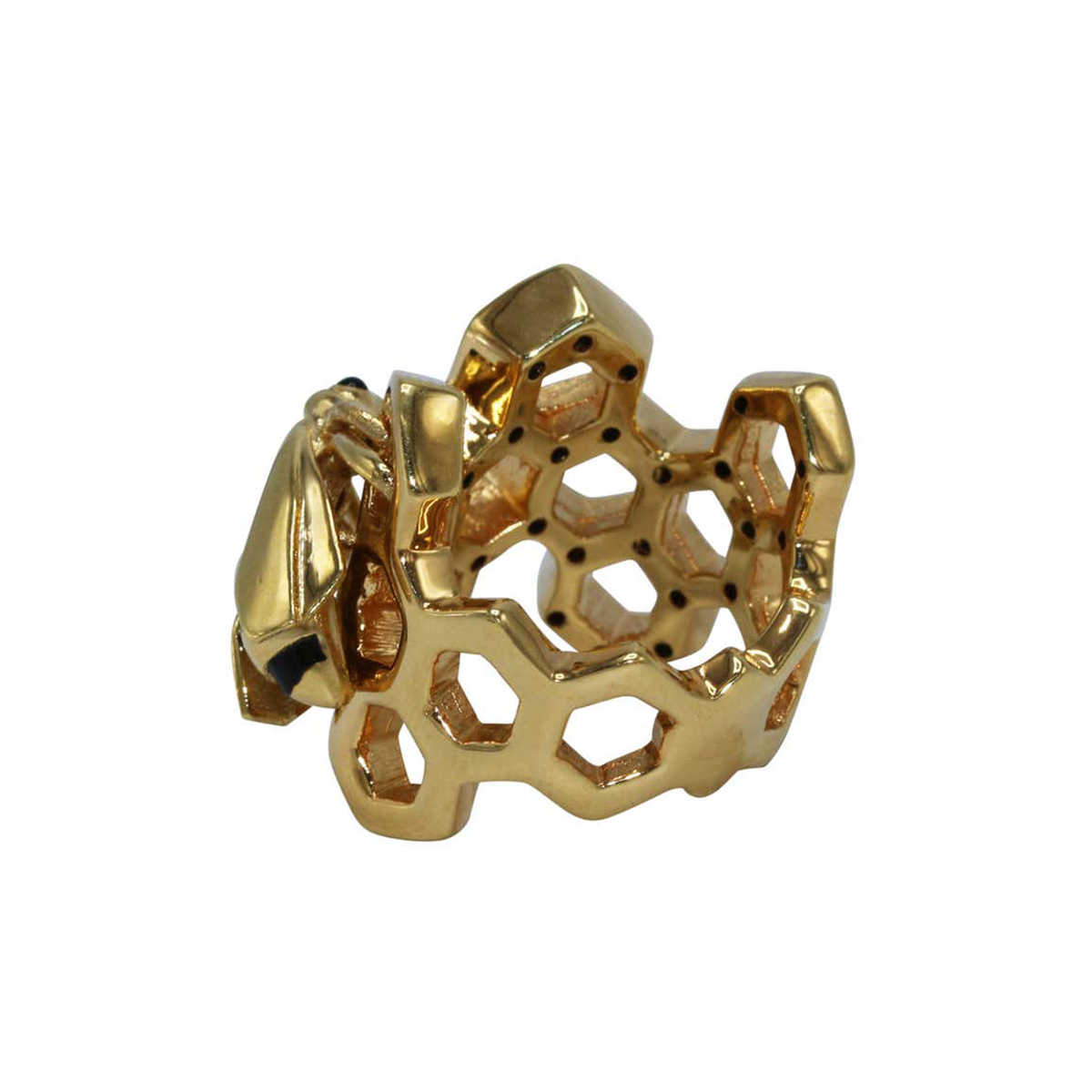 Giordana Castellan Enamel and Gold Honeycomb and Bee Ring
