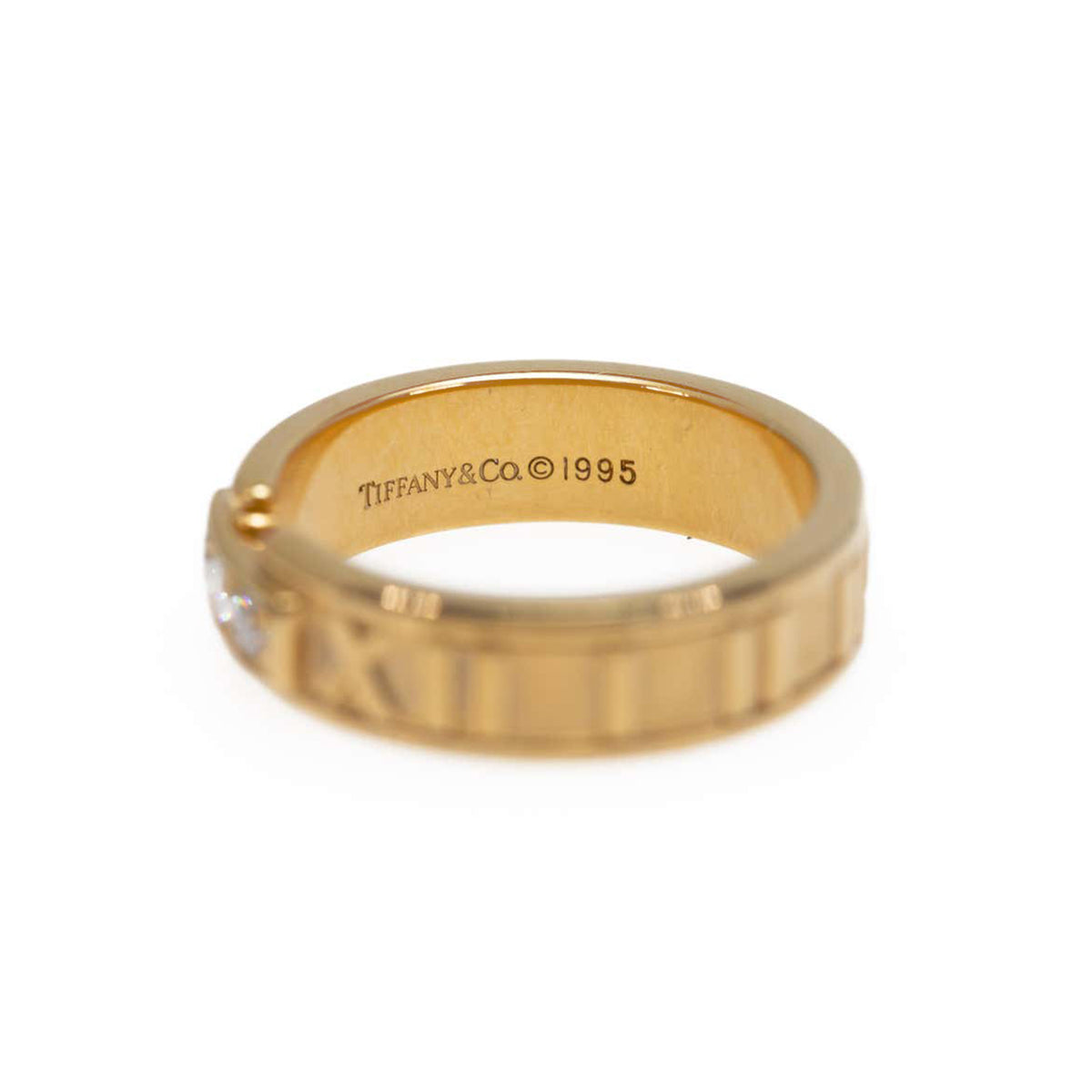 Tiffany & Co. Atlas Roman Numeral Wedding Diamond Ring in 18 Karat Gold
