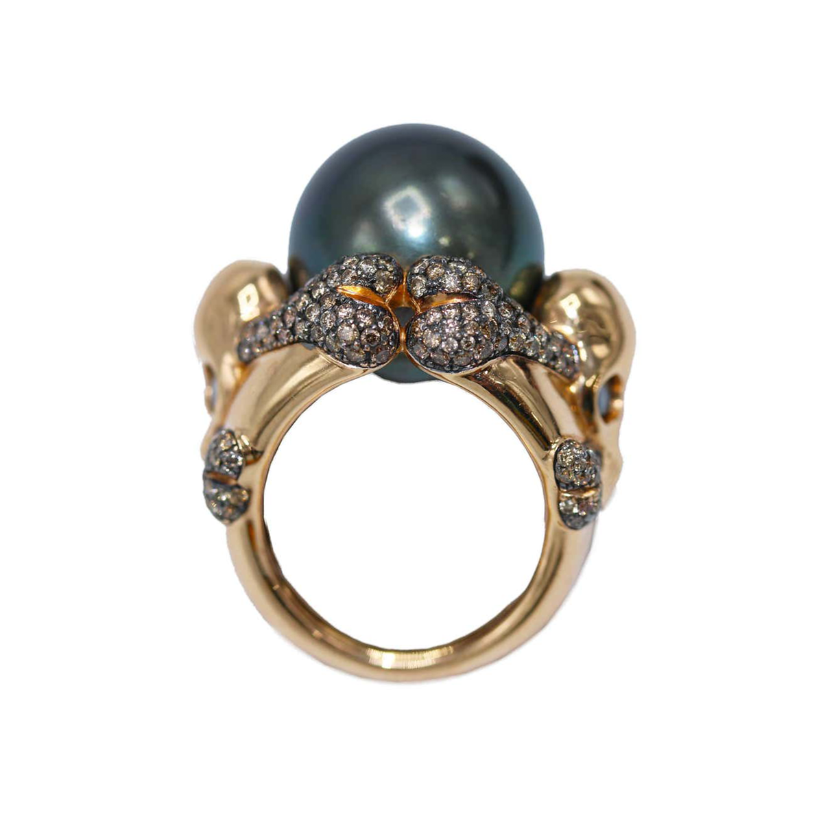 de GRISOGONO South Sea Pearl & Colored Diamond Skull Ring