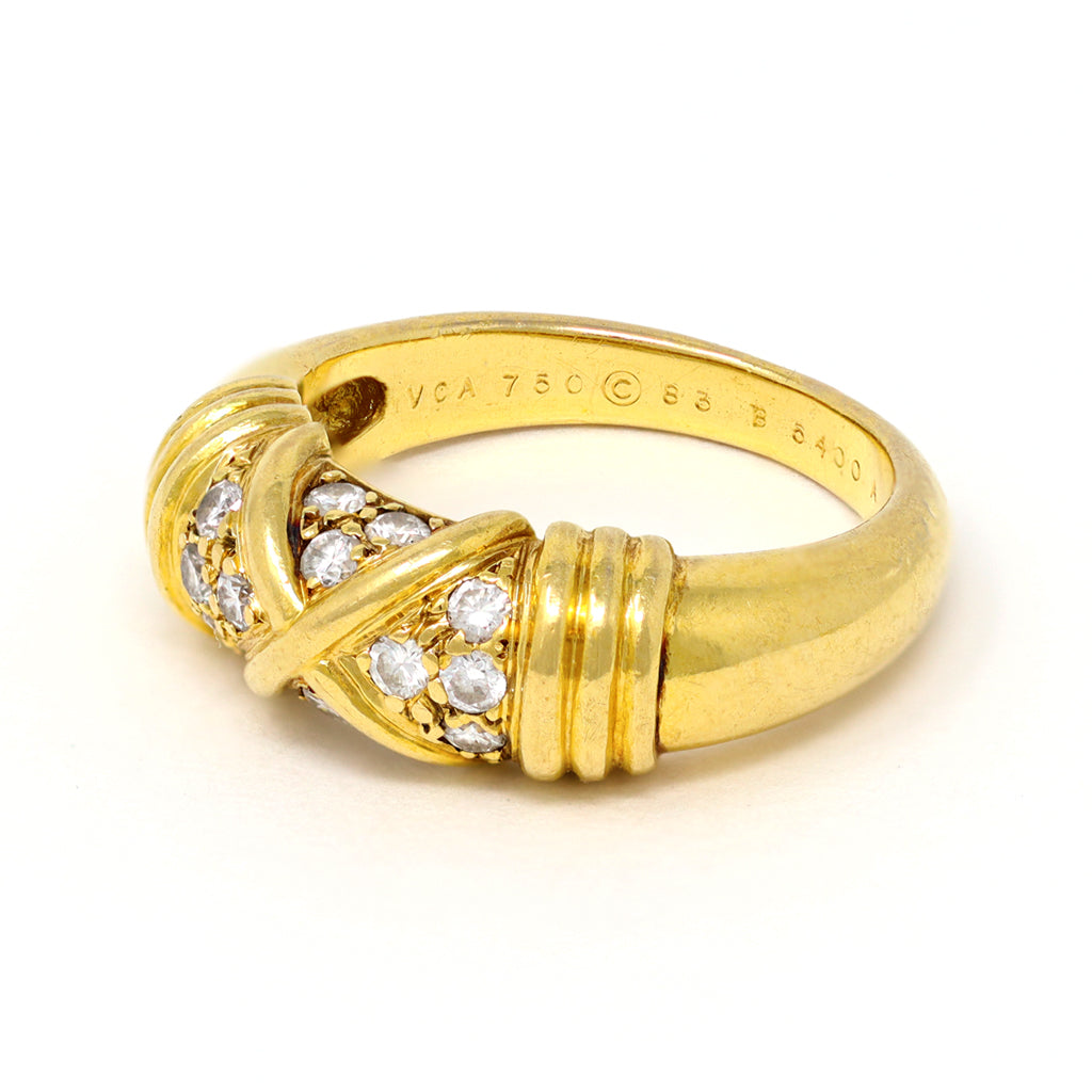 Van Cleef & Arpels Diamond Band Ring in 18 Karat Yellow Gold makers mark view