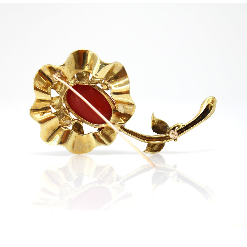 Italian Coral, Diamond and Gold Flower Brooch back view