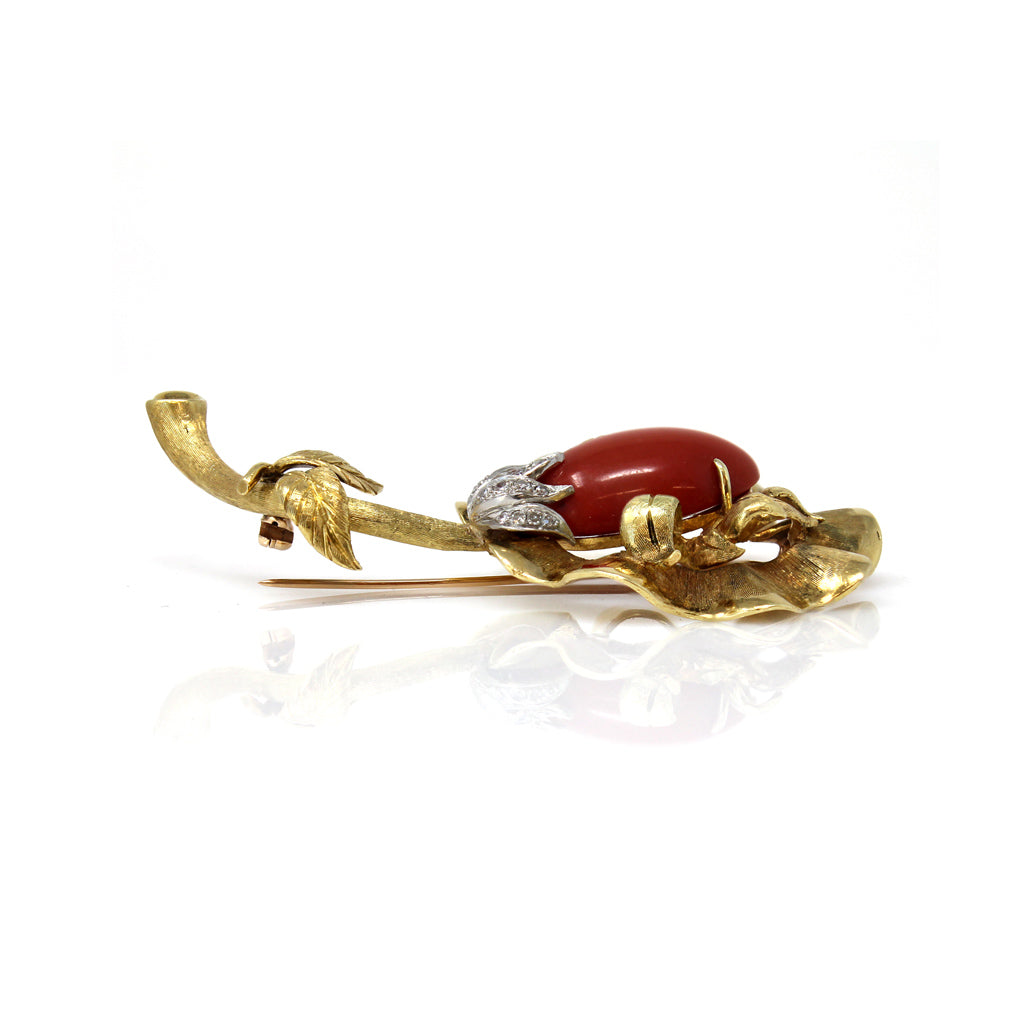 Italian Coral, Diamond and Gold Flower Brooch side view