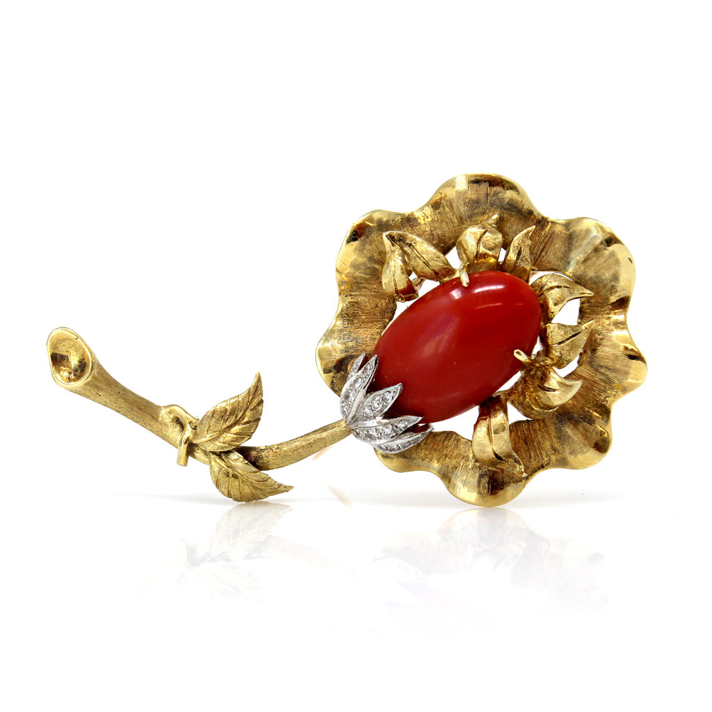 Italian Coral, Diamond and Gold Flower Brooch front view