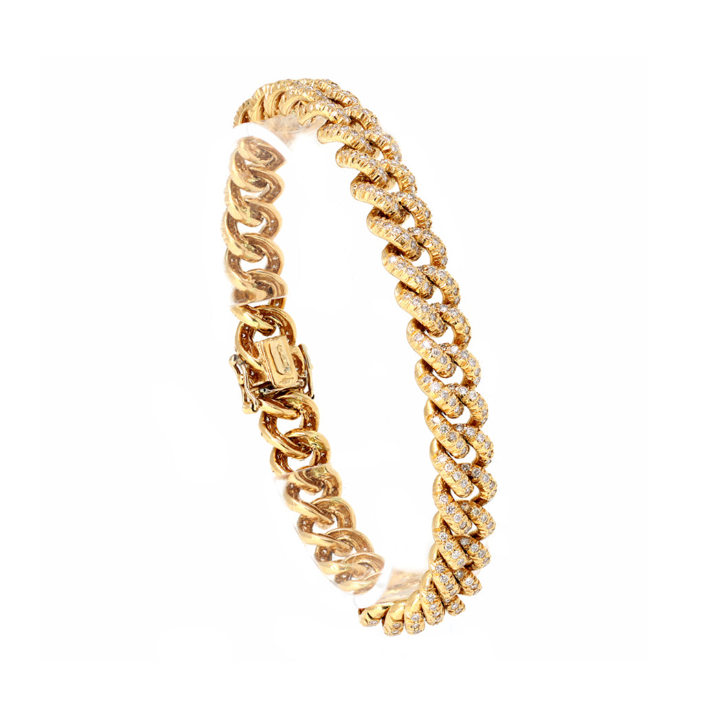 18 Karat Yellow Gold and Diamond Curb Link Bracelet display view