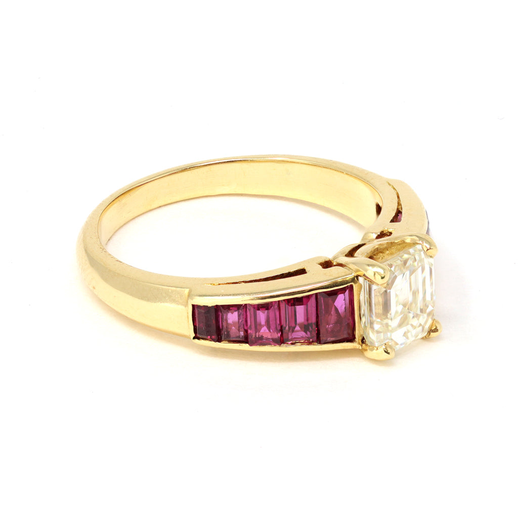 1 Carat Solitaire Asscher Cut Diamond with Baguette Ruby Ring in 18k Gold side view