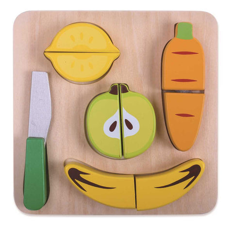 Wooden fruit cutting play set
