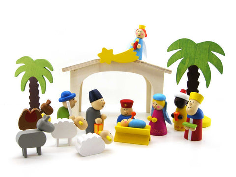 Wooden nativity playset