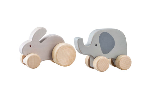 Pastel Wooden Animal roller- Bunny or Elephant