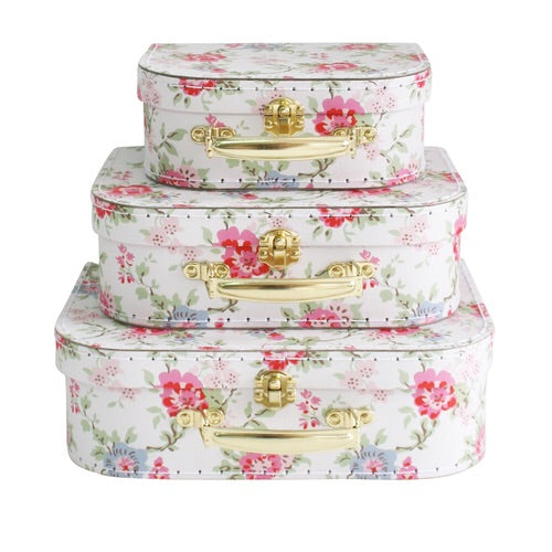 Cottage Rose carry case nesting suitcase set