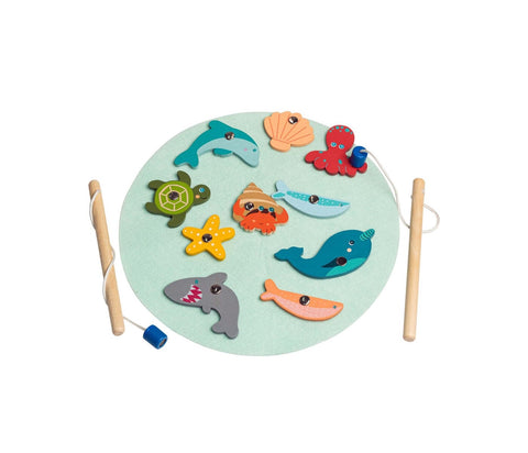 Pastel wooden fishing game