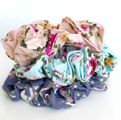 Floral Scrunchies -3 colours to choose from