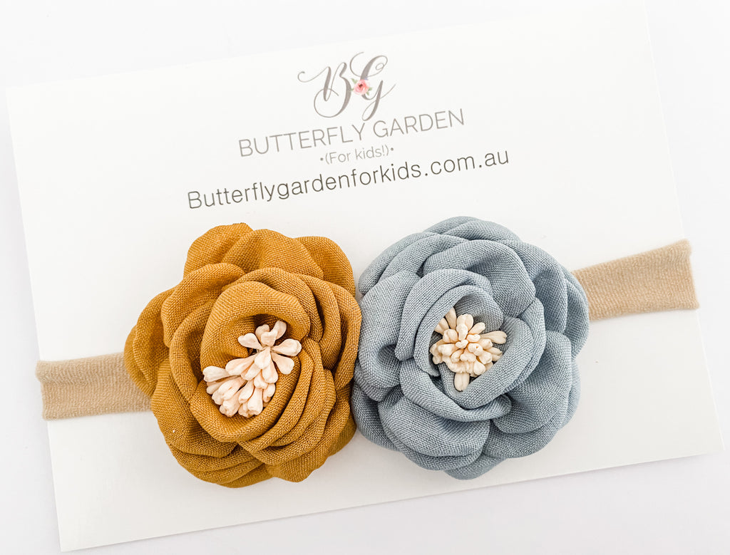 Dahlia limited edition headband - Mustard/sky