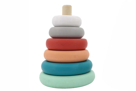 Wooden stacking tower - Coral/mint