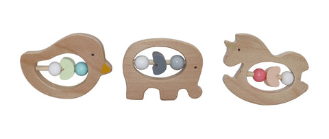 Pastel Wooden Animal grab-rattle