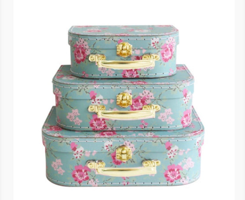 Nesting Suitcases - Aqua cottage rose