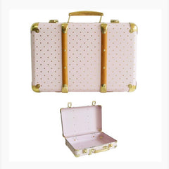 Alimrose Vintage Style Carry case- Pink & gold Dots