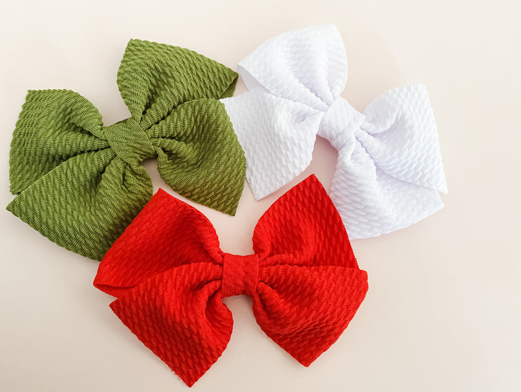 Santa Bows- Red, White or Green