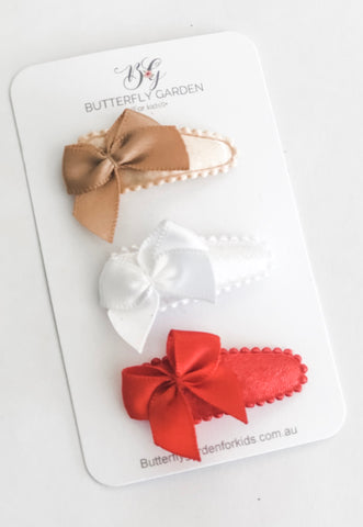 Petite Belle Bow trio- Christmas Edition