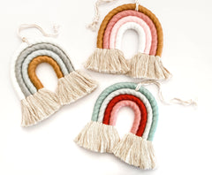 Boho Rainbow hair clip holder- Gold/White/Grey
