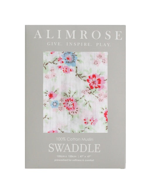 Alimrose Muslin Swaddle Cottage Floral